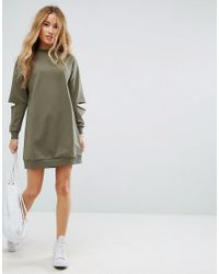 ASOS - Pink Ultimate Oversized Sweat Dress With Slashed Arm - Lyst