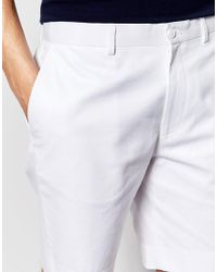 ASOS - Slim Tailored Shorts In White Washed Cotton for Men - Lyst