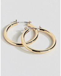 ASOS - Metallic Tube Hoop Earrings - Lyst