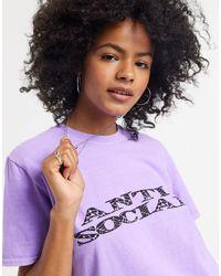 TOPSHOP Purple – es T-Shirt mit Schriftzug, Kombiteil