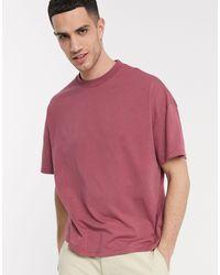 Camiseta violeta extragrande con cuello redondo ASOS de hombre de color Purple