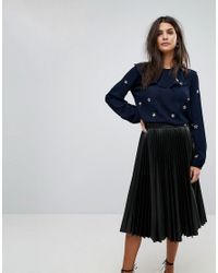 Whistles Blue Embroidered Star Blouse