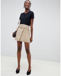 Mini-jupe avec ceinture à nouer - Fauve ASOS en coloris Multicolor