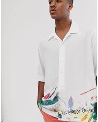 Noak – Oversize-Hemd mit Pinselstrich-Design in White für Herren