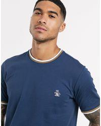 Original Penguin – T-Shirt mit kleinem Logo in Blue für Herren
