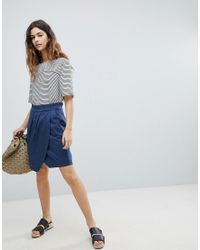 Soaked In Luxury Blue Paperbag Waist Wrap Skirt