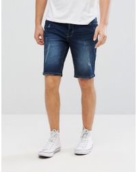 Only & Sons - Blue Slim Fit Denim Shorts With Distress Detail for Men - Lyst