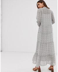 Vero Moda Gray Mosaic Print Tiered Maxi Dress