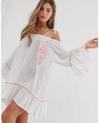 Vestito da mare stropicciato con spalle scoperte e ricami fluo con specchietti di South Beach in White