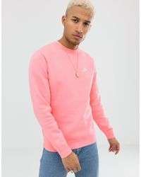 Nike Club - Sweatshirt Met Ronde Hals In Roze in het Pink voor heren