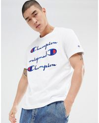Champion T-shirt With Repeat Logo In White for men