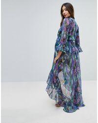ASOS Blue Asos Design Maternity Peacock Print Tie Front Beach Kimono