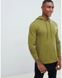 Hoodie moulant avec imprimé tigre dans le dos - Kaki ASOS pour homme en coloris Green