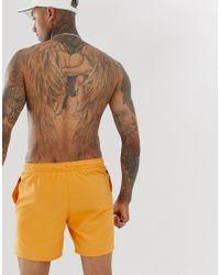 ASOS Halflange Zwemshort In Mosterdkleur in het Yellow voor heren