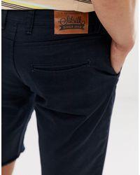 Pantalones cortos chinos con bajo sin rematar en negro Siksilk de hombre de color Black
