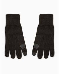Перчатки Черного Цвета С Белыми Вкраплениями Для Сенсорных Экранов -черный Цвет Topman для него, цвет: Black