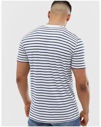 Camiseta blanca a rayas con logo Icon Hollister de hombre de color White