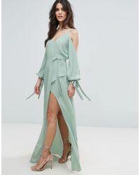 ASOS Green Cold Shoulder Long Sleeve Maxi Dress