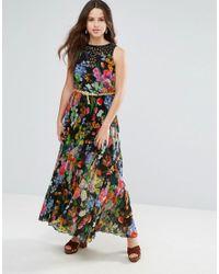 Louche Black Floral Maxi Dress