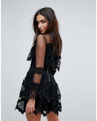 PRETTYLITTLETHING Black Premium Lace Dress With Mesh Sleeve