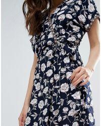 Trollied Dolly Blue Floral Kimono Wrap Front Dress