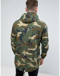 Pull&Bear Green Lightweight Parka Jacket In Camo for men