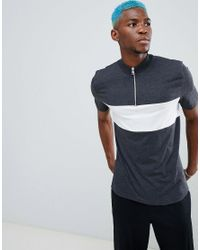 ASOS - Blue Asos Relaxed Skater T-shirt With Zip Turtle Neck And Cut & Sew Panels for Men - Lyst