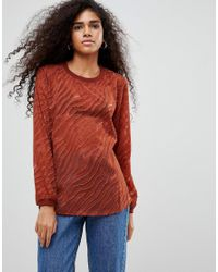 B.Young - Red Zebra Burnout Blouse - Lyst