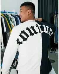Felpa nera e bianca a pannelli divisi con stampa gotica sul retro e logo di The Couture Club in Black da Uomo