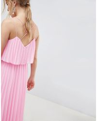ASOS Pink Pleated Crop Top Midi Dress