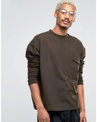ASOS - Green Oversized Sweatshirt In Heavy Waffle Fabric for Men - Lyst