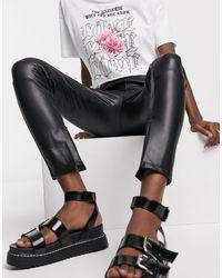 Черные Брюки Скинни Из Искусственной Кожи -черный Bershka, цвет: Black