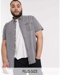 New Look Plus – Kurzärmliges Denimhemd in Gray für Herren