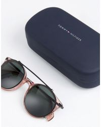 Tommy Hilfiger Metal Round Sunglasses In Pink for men
