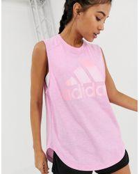 Adidas Originals Pink Adidas Training Winners Tank