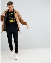 Pull&Bear - Smiley Face Slogan Crew Neck T-shirt In Black for Men - Lyst