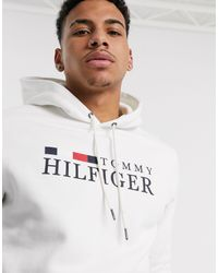 Felpa basic con cappuccio e logo icona bianca di Tommy Hilfiger in White da Uomo