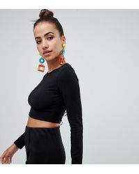 PRETTYLITTLETHING Black Lace-up Back Detail Crop Top