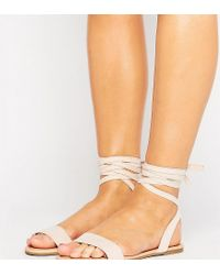 ASOS - Natural Fiona Wide Fit Tie Leg Flat Sandals - Lyst