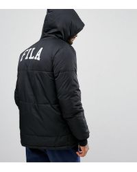 Fila Fila Black Long Puffer Jacket With Back Logo Exclusive To Asos for men