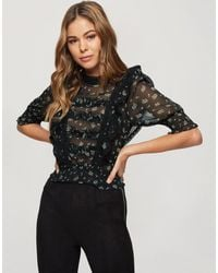 Miss Selfridge Black Blouse With Frill Detail