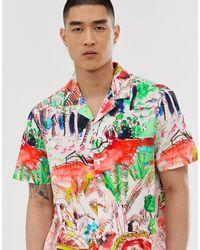 Chemise coupe classique à imprimé pittoresque gribouillé (ensemble) ASOS pour homme en coloris White