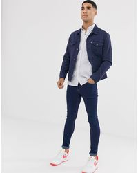 Camicia slim a maniche corte blu rigato di Jack & Jones in Blue da Uomo
