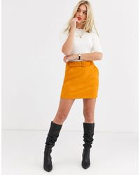 Vero Moda Orange Faux Suede Belted Skirt-red