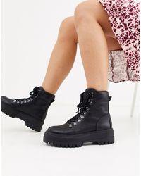 Bershka Black Lace Front Hiker Boots