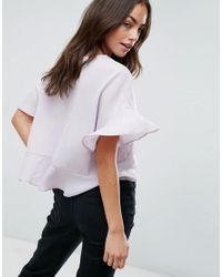 ASOS - Purple Asos Tie Front Blouse With Frill Sleeve - Lyst