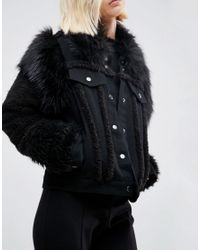 ASOS - Denim Jacket In Washed Black With Faux Fur Panels - Lyst