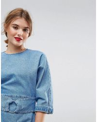 ASOS Denim Dress With Belt And Ring Detail In Mid Wash Blue