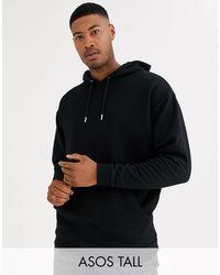 Sudadera larga y extragrande con capucha en negro ASOS de hombre de color Black
