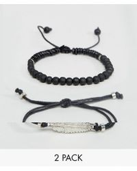 ASOS - Bracelet Pack In Black With Beads And Feather - Lyst